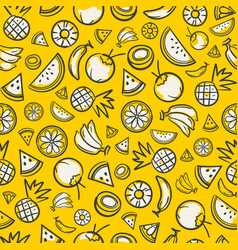 Colorful sketch mixed tropical fruits seamless vector