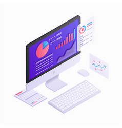 Computer monitor isometric 3d design vector