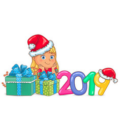 Cute girl in santa claus hat 2019 vector