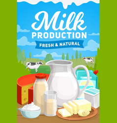 Dairy farm milk food organic products poster vector