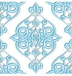 Damask floral textured 3d seamless pattern vector