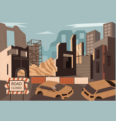 destroyed town with demolished buildings vector image