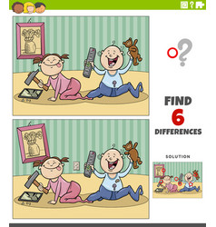 Differences educational game with cartoon babies vector