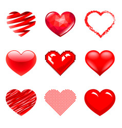 different hearts icons photo realistic set vector image