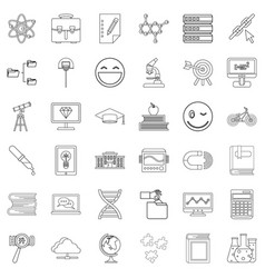 Diploma icons set outline style vector