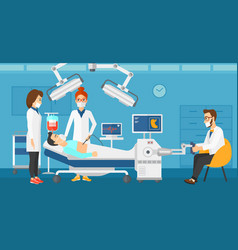 doctor performing operation involving robot vector image