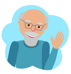drawing of icon elderly man in the cloud vector image