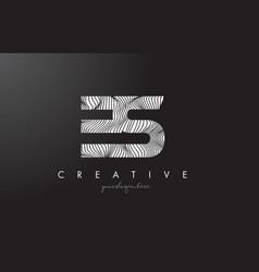 Es e s letter logo with zebra lines texture vector
