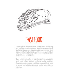 Fast food burrito poster text vector