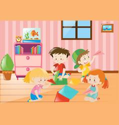 four children folding paper in room vector image