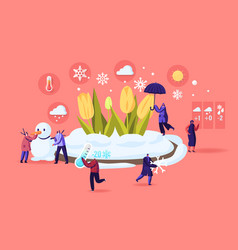 Freezing spring and climate change concept tiny vector