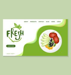 Fresh meal and dishes vegan menu online website vector