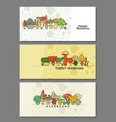 funny mushrooms banner set for your design vector image