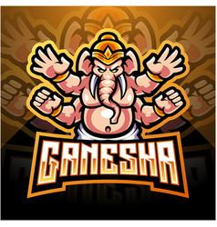 Ganesha esport mascot logo design vector