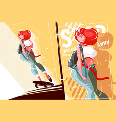 Girl on skateboard vector
