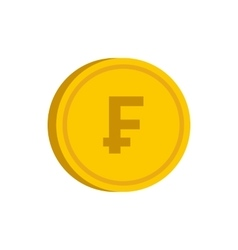 Gold coin with franc sign icon flat style vector image