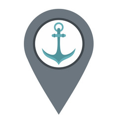 Gray map pointer with anchor symbol icon isolated vector