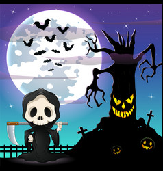 halloween night background with grim reaper and sp vector image