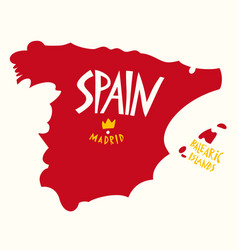 hand drawn stylized map spain travel spain vector image