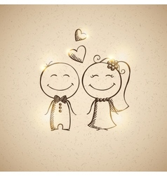 Hand drawn wedding couple vector