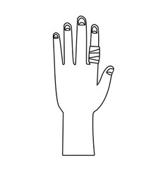 Hand with finger gauze bandage icon vector