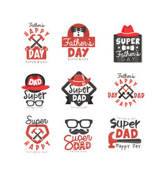 Happy fathers day logo set super dad vector