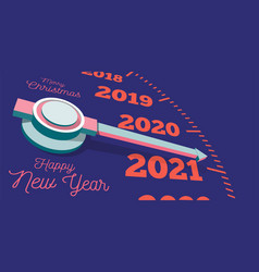 Happy new year 2021 a speedometer or clock hand vector