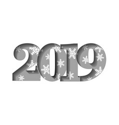 happy new year card gray 3d number 2019 with vector image