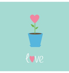 Heart flower in pot Love card vector