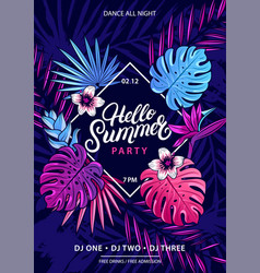 hello summer hand written lettering text vector image