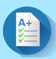 icon of successful test result a plus vector image