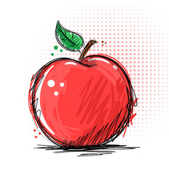 ink and marker - apple vector image