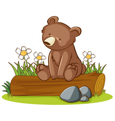 Isolated picture grizzly bear on log vector