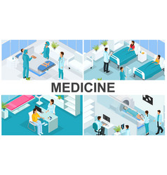 isometric healthcare colorful composition vector image
