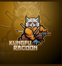 Kungfu raccoon esport mascot logo design vector