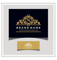 letter n logo design concept royal luxury gold vector image