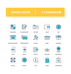 line icons set e-commerce 3 vector image