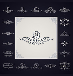 luxury logo monogram set vintage royal flourishes vector image