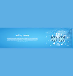 making money business concept horizontal web vector image