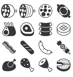 Meat products icon in silhouette design vector