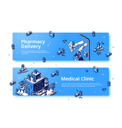 medical clinic pharmacy delivery isometric banner vector image