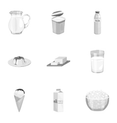 Milk product and sweet set icons in monochrome vector