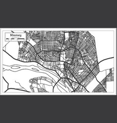Niamey niger city map iin black and white color vector