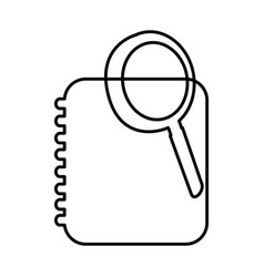 notebook with magnifying glass icon vector image