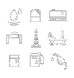 Oil and petrol industry objects icons set vector