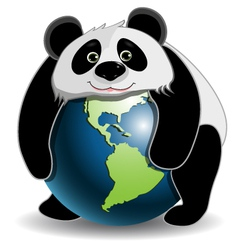 Panda on the globe vector