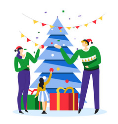 parents in festive sweaters decorating christmas vector image