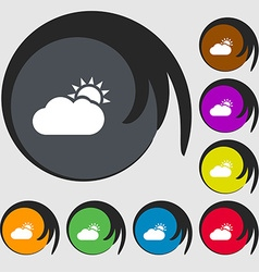 Partly Cloudy icon sign Symbols on eight colored vector image