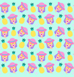 pattern with girl vector image