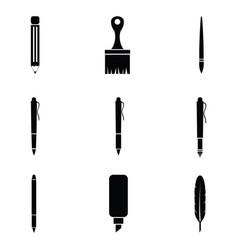 Pen icon set vector